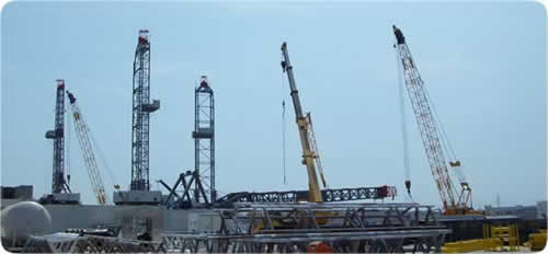 drilling rig, rig-up yard